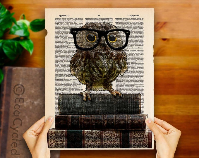 Adorable Nerdy Owl with Glasses on Books on Vintage Upcycled Dictionary Art Print Book Art Print Recycled Reading book lover art gift