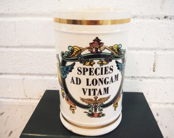 Vintage apothecary jar crock species ad vitam robinette shabby medical pharmacy