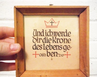 Vintage German religious quote wall art framed