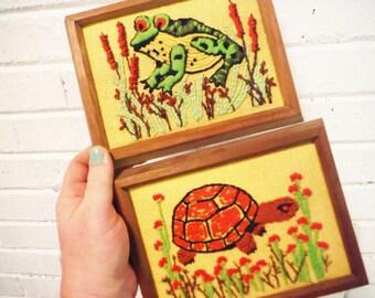 Vintage frog turtle needlepoint retro stitchery pond life woodland decor green and yellow