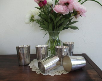Six antique nesting cups ~ silverplate on copper tumblers : Out of Africa  picnic necessities