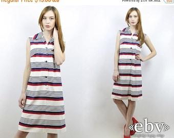 Vintage 70s Striped Americana Sundress L Summer Dress Striped Dress Day Dress Americana Dress 4th of July Dress 1970s Dress Sleeveless Dress