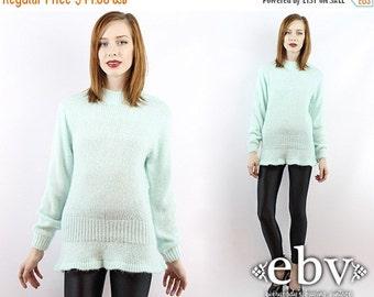 Vintage 80s Seafoam Peplum Sweater S M Vintage Sweater Vintage Jumper Vintage Knit