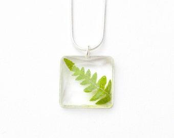Square Gem Natural Forest Leaf necklace - leaf pendant, natural necklace, fern necklace, forest jewelry, natural jewellery, nature, green