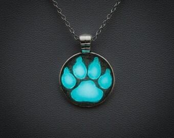 Glowing necklace - glow in the dark blue paw pendant, glow jewellery, glowing jewelry, magical, fantasy, animals