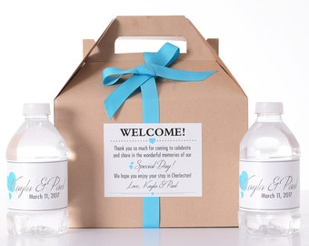 25 Wedding Favor Box / Welcome Box Labels Gable Wedding Box Set with 50 Water Bottle Labels - Wedding Gift Box - Wedding Guest Gifts