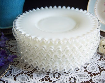 Fenton Silvercrest Plates - White Milk Glass Plates - Fenton Milk Glass Plates - Wedding Milk Glass - Vintage Wedding - Milk Glass Plates