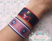 Civil War~ Iron Man or Captain America Wristband~ CHOOSE YOUR SIDE Ribbon and Nylon Cuff Bracelet with Velcro {Made to Order}