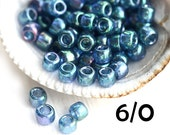 Rainbow Teal TOHO Seed beads, size 6/0, Gold-Lustered Lt Tanzanite, N 321, japanese rocailles - 6g - S759