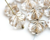 10pc Clear Leaf Beads with Golden inlays, Czech glass leaves, Maple - 11x13mm - 0022
