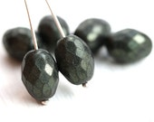 Tumbled Black glass beads, Olive shape, czech fire polished oval beads, 13x10mm - 6Pc - 2499