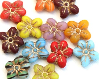Two Hole flower beads MIX, Multicolored czech glass Five petal flower, Old Patina Inlays, 2 hole - 6pc - 14mm - 1408