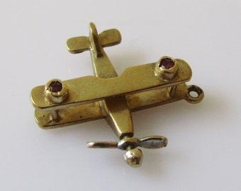 9ct Gold Bi Plane Moving Gem Set Charm
