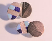 Vintage Art Deco Double Face Cuff Links Enamel Silver Plate 1930s Elegant French Modernist Design Accessories