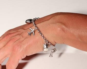 Vintage 80s Silver Bracelet, Sterling Bracelet Charm Bracelet Dangle Bracelet Link Bracelet Trinket Bracelet Stamped 925 Bracelet