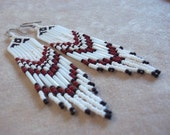 Maroon, white, black long fringe seed bead earrings statement earrings bold earrings colorful earrings dangle earrings long boho earrings