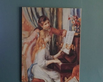 "Vintage Reproduction of Renoir's Painting of ""Two Sisters at the Piano"""