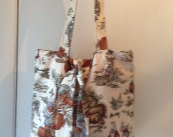 """Thanksgiving Fall Festival  Tied Tote Bag - 15"""" Lined handmade tote bag"""