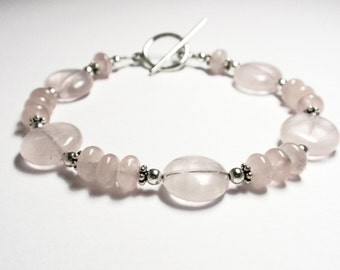 Rose Quartz Bracelet, Handmade Rose Quartz Bracelet, Pink Beaded Bracelet, Rose Quartz and Sterling Silver Bracelet