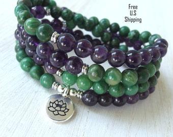 Amethyst & Jade Mala, 108 beads, Mala Bracelet or Necklace, Reiki, Rosary,Prayer beads, Gemstone, wrist mala, Lotus, buddha, ohm, om