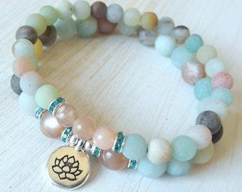 Anti Anxiety, Yoga set, Yoga stack, Yoga bracelets, bracelet set, Reiki Charged, stacking malas, yoga stack, Amazonite, Moonstone