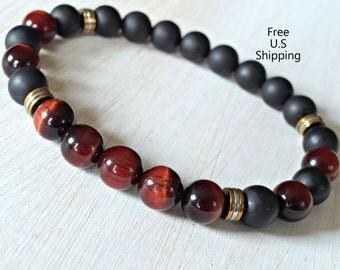 Men's red Tiger eye, Men's bracelet, Tribal bracelet, Onyx bracelet, Men's Mala, Protection, Tiger eye, Healing mala, mala beads, Mens lava