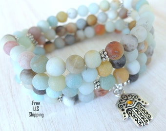 Amazonite Mala, 108 beads, Hamsa hand, Protection, Mala Bracelet or Necklace, Reiki ,Prayer beads, Gemstone, wrist mala, hamsa bracelet,