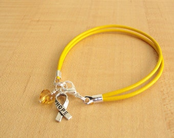 Gold Awareness Bracelet (Leather) - COPD, Pediatric Cancer, Rhabdomyosarcoma, Neuroblastoma & More