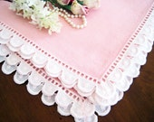 8 Vintage Pink Dinner Napkins, Embroidered Scalloped Lace Trim, Linen Blend
