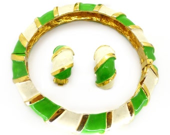 Vintage Kenneth Jay Lane KJL Striped Enamel Green Gold Tone Bracelet & Earrings