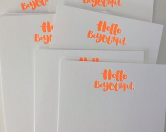 Letterpress note cards /  Hello Beautiful BeYOUtiful / Blank letterpress notecards / DeLuce Design