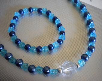 Childs Necklace Set - Blue Flower with Crystal Center -  Necklace and Stretch Bracelet - Junior Bridesmaid  Flower Girl