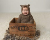 Bear Hooded Overalls, 6-12M Overalls, Photo Prop