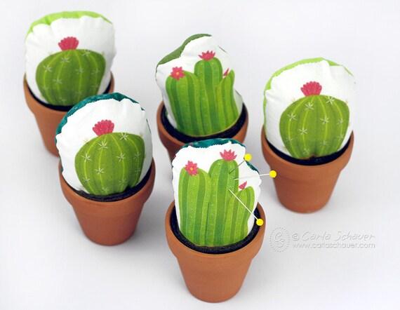 barrel cactus pincushion faux potted cactus decoration original cactus art fabric pin cushion. Black Bedroom Furniture Sets. Home Design Ideas