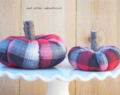 Grey and Red Plaid Flannel Pumpkins, Fall Decor, Farmhouse Pumpkin, Autumn Decor, Fabric Pumpkin, Lumberjack, Cozy Decor, Cottage Pumpkin