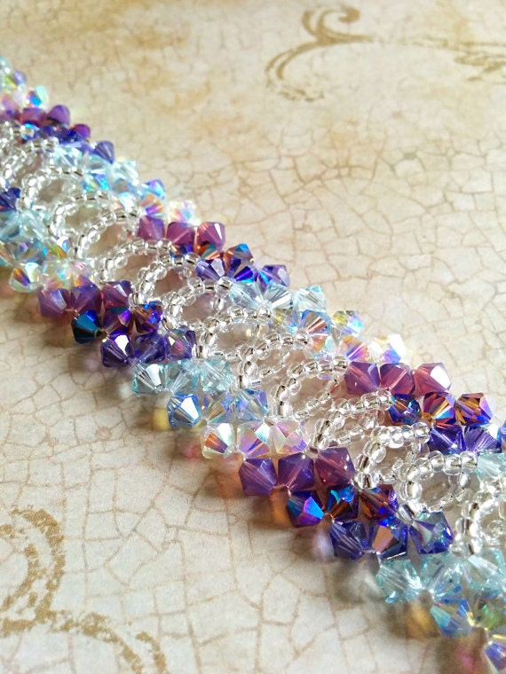 Right Angle Crystal : Raw right angle weave lace swarovski crystal and seed bead
