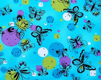 2146 - 1 yard SDLP cotton fabric  - Butterfly and dots