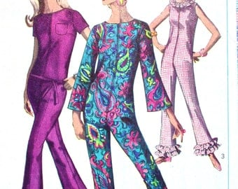 """Simplicity Jumpsuit Pattern No 6793 UNCUT Vintage 1960s Size 12 Bust 32"""" Sleeveless Short or Bell Sleeves Lounging Pajamas Front Zipper"""