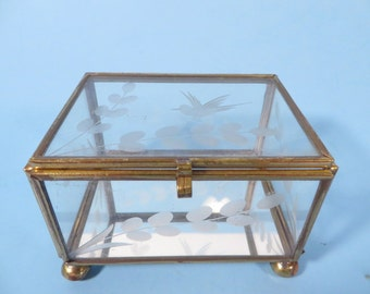 Vintage Glass Brass Rectangle Box - Etched Glass Brass Display Box