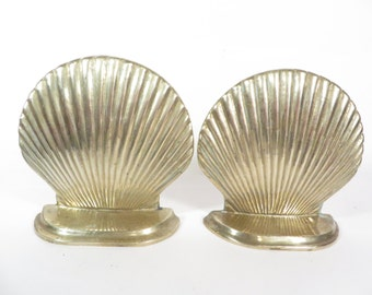Vintage Brass Shell Bookends - Clam Shell Brass Bookends