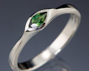 Marquise Green Tourmaline Engagement Ring in Sterling Silver, Palladium, Yellow Gold, Rose Gold or White Gold