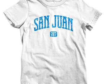 Kids San Juan 787 T-shirt - Baby, Toddler, and Youth Sizes - Puerto Rico Tee, PR - 4 Colors