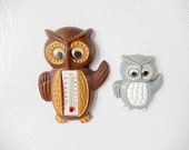 vintage owl figurines thermometer refrigerator magnets, 1950s made in Hong Kong, vintage owl decor, collectibles