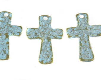 3 Patina Brass cross charms