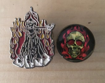 Vintage 70s Rocker skull flames sword vest pin a lot of 2