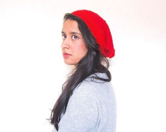 Red slouchy Beanie Hat, Pom Pom Hat, Crochet slouchy beanie, Unisex, hand crocheted