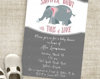 Elephant Shower for Baby Boy or Baby Girl Invitation in Gray and Pink Harlequin Custom Invites with Professional Printing Option