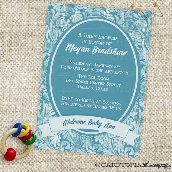Timeless Boy Baby Shower Invitation with Blue Banner Digital Printable File with Professional Printing Option
