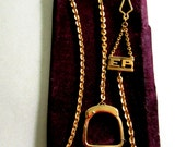 Vintage 1940's Art Deco Watch Chain On Original Card Initials EP Pocket Watch Accessories Mens Jewelry Swing Zoot Suit destash upcycle