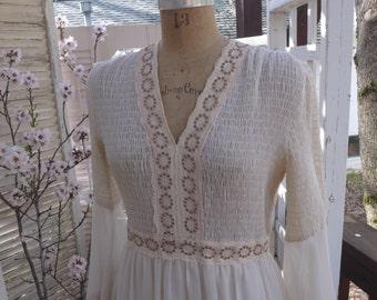 Vintage Boho Wedding Dress Smocked Ecru Renaissance Bernie Bee 70s Camelot Maxi Dress Indie Beach